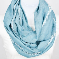 Frayed Infinity Scarf - Teal