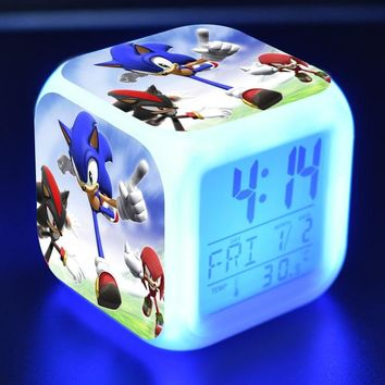 Super Sonic Anime Figurines LED Clock Alarm Colorful Flash Light Thermometer Sonic The Hedgehog Game Figure Toys For Children