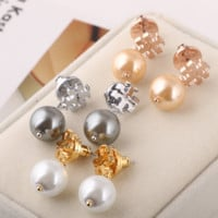 Tory Burch Fashion new fashion pearl metal personality earring