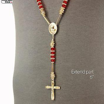 Jewelry Kay style Mens Hip Hop 8mm RED Bead 14kt G.P Rosary Pray Hand & Jesus Cross Necklace GRD