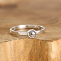 Rose cut diamond engagement ring Hammered sterling silver grey diamond ring Modern rustic jewelry Round cut diamond promise ring