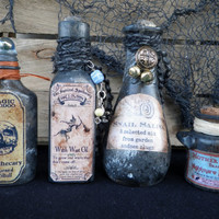HALLOWEEN POTION BOTTLES set of 4 vintage & new 3 to 6 inch glass apothecary witch's cupboard Halloween decor theater props renaissance