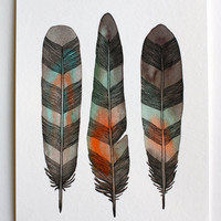 Feather Art Painting - Watercolor Art- Large Archival Print - 11x14 Chevron Feathers