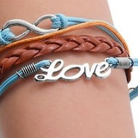 Brown Braided Leather Bracelet w/ Metal Infinity & Love Design in Blue Leather String