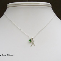Liver Cancer Awareness Ribbon Necklace Sterling Silver Ribbon Charm Green Crystal Necklace Charity Donation Awareness Remembrance Gift