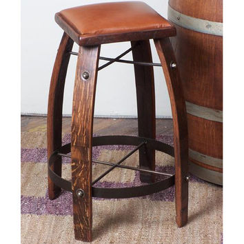 "30"" Stave Stool w/ Tan Leather Seat (Made from Wine Barrels)"