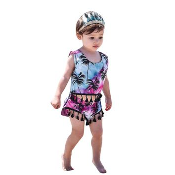 Adorable Toddler Infant Baby Girls Clothes Set Tassel Sleeveless Tops+Shorts Pants Coconut tree Printed 2pcs Suit Kids Outfits