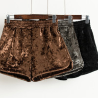 Metallic velvet shorts