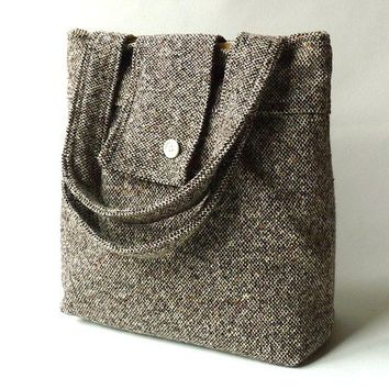 Fall fashion Messenger bag Amy cashmerewool Brown by ikabags