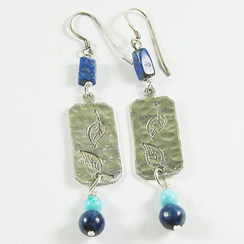Falling Leaves Bohemian Earrings, Lapis & Turquoise Earrings, Hand Stamped, Gypsy Chic Jewelry