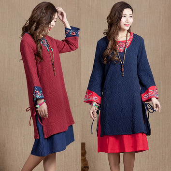 China National trend women's embroidered dress plus size chinese style vintage embroidery one-piece dress