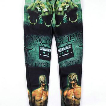 Black Green Emoji Hip-Hop Singer 2pac Print Sweatpants