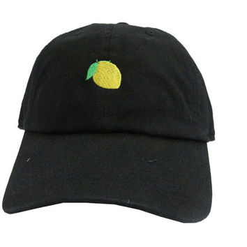 Custom Beyoncé Lemonade Unstructured Twill Cotton Dad Hat, Lemon Emoji Black Adjustable Hat, New Unisex Streetwear Strap Back Hats