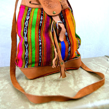Vintage 80s 90s Rainbow Leather Bag Purse