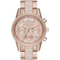 Michael Kors Women's Chronograph Ritz Blush Acetate and Rose Gold-Tone Stainless Steel Bracelet Watch 37mm MK6307 | macys.com