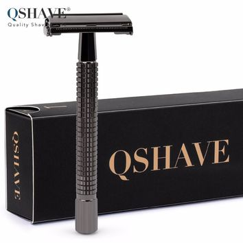 Qshave Long Handle Butterfly Open Classic Safety Razor Double Edge Safety Razor Gunblack, 1 Razor & 5 blades