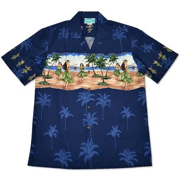 hula blue hawaiian border shirt