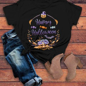 Women's Halloween T Shirt Pumpkin Wreath Watercolor Graphic Tee Happy Halloween Wreaths