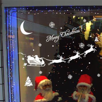 2017 Christmas Decoration Decal Window Stickers removable glass wall Xmas Merry Christmas Deer&Sleigh Ride wall sticker supply