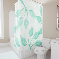 "Shower Curtain - 'Leaves in Mint on White' - 71"" by 74"" Home, Decor, Bathroom, Boho, Dorm, Girl, Christmas, Gift, Leaves, Abstract,Nature"