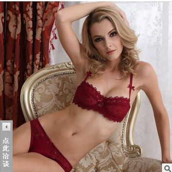 2015 Newset Very Sexy Women Half Cup Lace Bra + Briefs Plus Size Ultra-thin Sexy Plunge Bra Sets A B C Cup Free Shipping 36ABCD