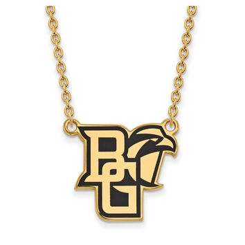 NCAA 14k Gold Plated Silver Bowling Green State Large Enamel Necklace