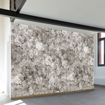 Black White Flowers Wall Mural