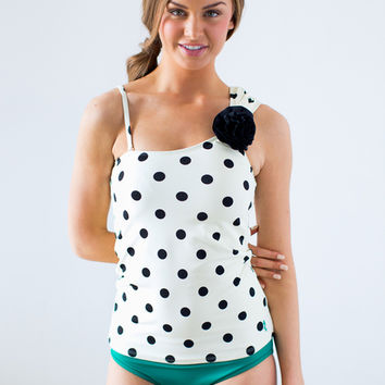 Rosette One-Shoulder Cream Dot Tankini Top | Lime Ricki Swimwear