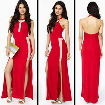 Red And Cream Halter Neck Backless Bodycon Maxi Dress With Double Slit