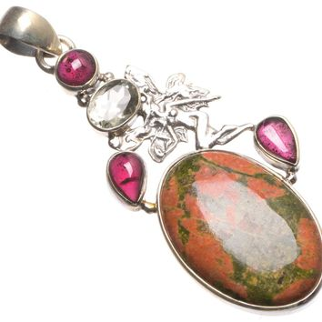 """Natural Green Unakite,Amethyst and Green Amethyst Mexican 925 Sterling Silver Pendant 2.5"""" U0696"""