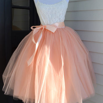 Womens Tutu, Blush Pink Tulle skirt,  Pale Pink tutu, tulle skirt, ballet skirt, bridesmaid dress,  wedding skirt, Plus size