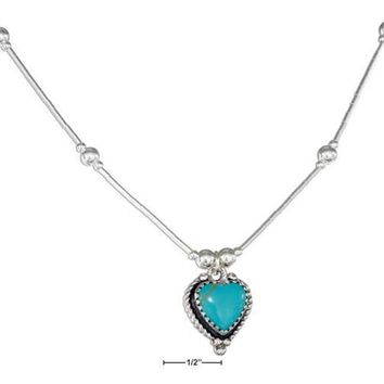 """Sterling Silver 16"""" Roped Edge Simulated Turquoise Heart Liquid Silver Necklace"""