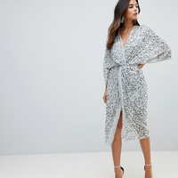 ASOS Embellished Sequin Kimono Midi Dress at asos.com