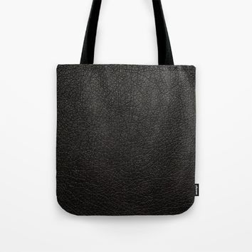 Leather textile pattern fabric black Tote Bag by Xiari