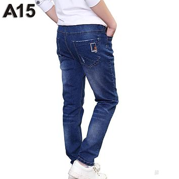 A15 Big Boys Jeans Kids Pants Children Trousers Korean Kids Clothes Boy Jeans Pants Teenage Boy Denim Pants Age 10 12 13 14 Year