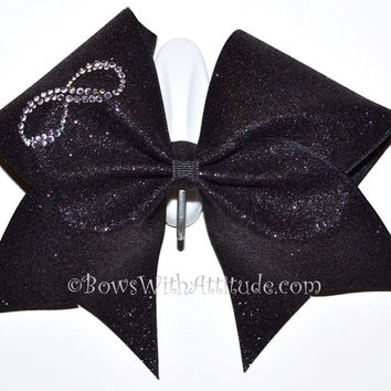 "3"" Wide Luxury Cheer Bow - Rhinestone Infinity"