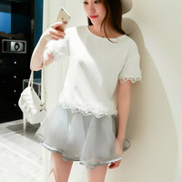 White Round Neck Beaded Top with Lace