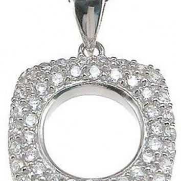 Gorgeous Diamond Heart Circle Pendant Necklace ~ Solid Sterling Silver