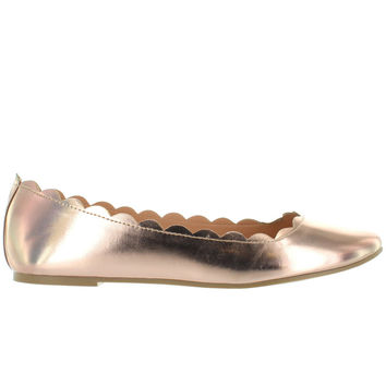 Wanted Sydney - Rose Gold Scallop Edge Ballet Flat