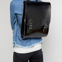 Leather Satchel Company Rounded Medium Backpack in Black Patent at asos.com