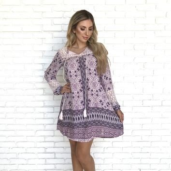 Lilac Cove Long Sleeve Lace Dress