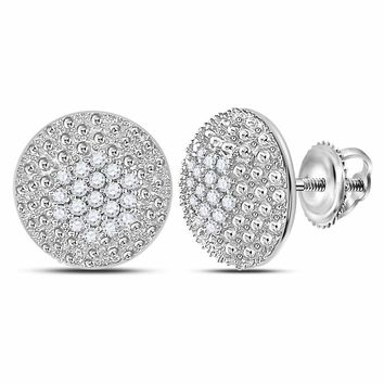 14kt White Gold Womens Round Diamond Circle Cluster Stud Earrings 1/4 Cttw