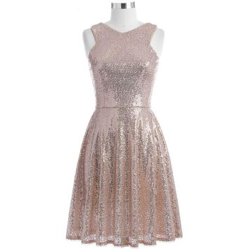 Rose Gold Sequins Cocktail Dresses Knee Length Women Casual Party Short Dresses