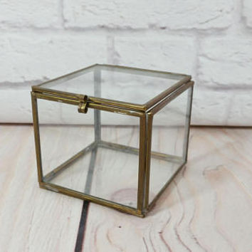 Vintage Brass Vitrine Glass Square Display Case Jewelry Box