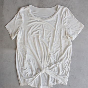 BSIC - front knot tee - ivory