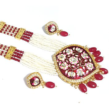 Crystal and Seed bead Long chain with meenakari pendant Necklace and Stud Earring set