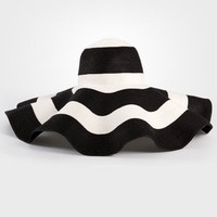 Black & White Stripe Beach Hat