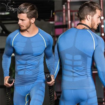 Compression Shirt Men Breathable Quick Dry Running T Shirt Bodybuilding Long Sleeve Top Tee Fitness Weight lifting Sport Clothes