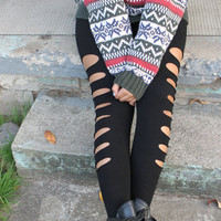 Black  Cut Out  Seamless Leggings  in  S/M  or  L/XL By: Tranquilityy