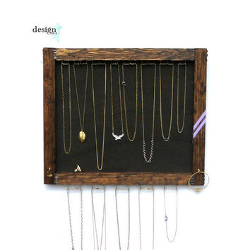 Jewelry Storage // Necklace Display Organizer // Wall Hanging Jewelry Storage // Purple Chevron // Eco-Friendly Reclaimed Wood // Gift